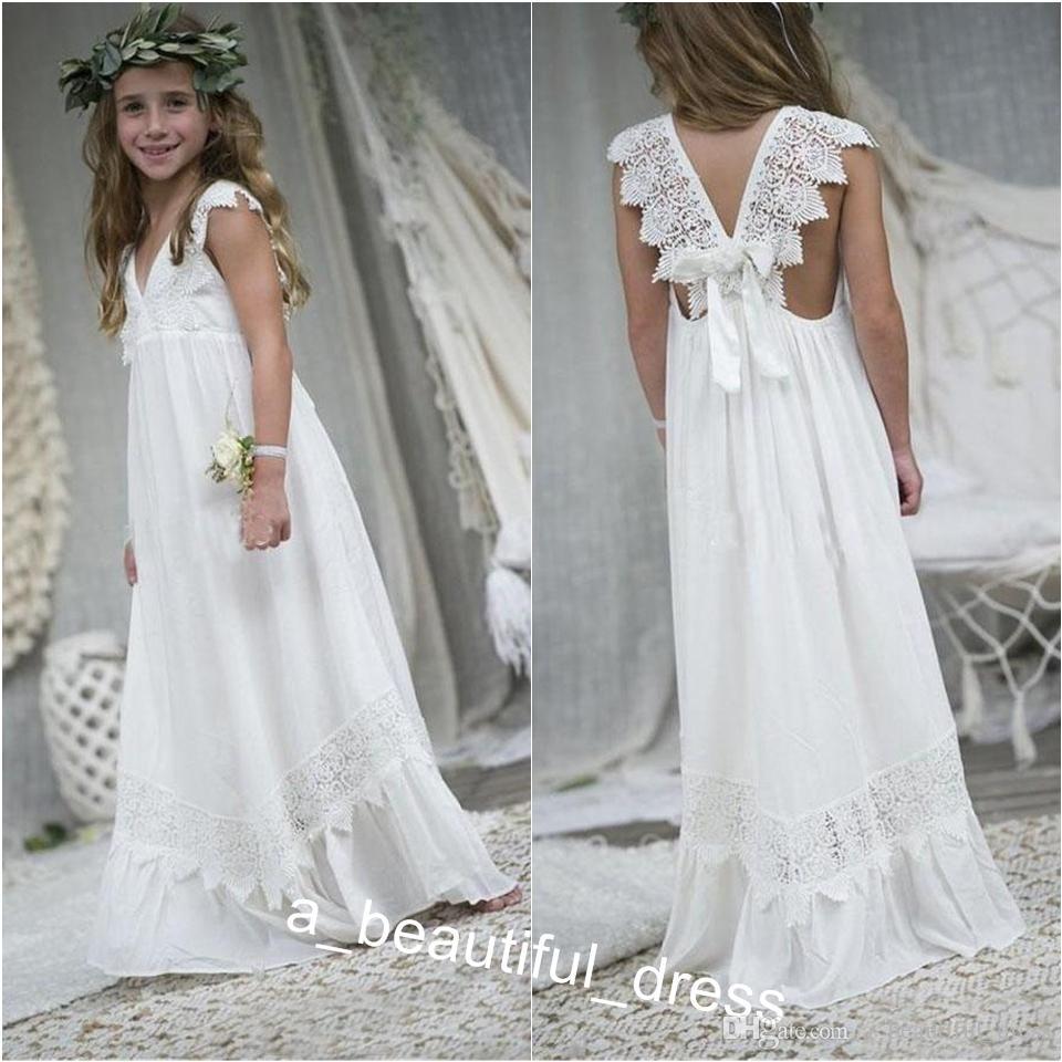 Newly Beach Boho Flower Girl Dresses Chiffon Custom Size Holy Communion Gowns V Neck Kid Formal Dresses