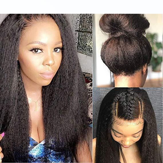 Glueless 360 Lace Frontal Wigs Kinky Straight Human Hair Wig Pre Plucked Italian Yaki 360 Lace Front Wigs For Women 150 Density