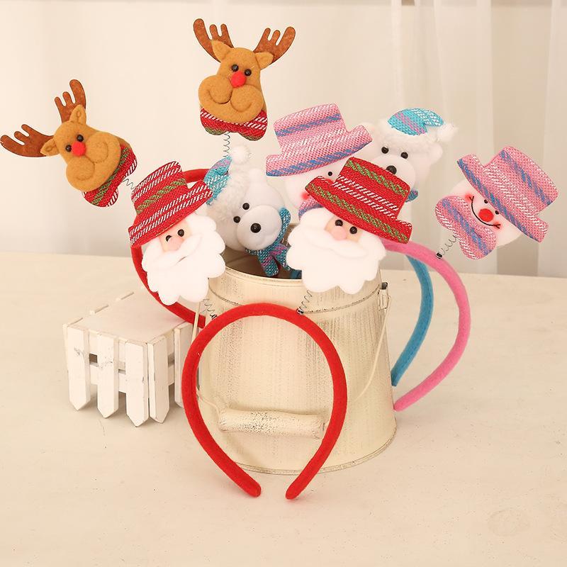 6 stili bambole di primavera Bambini di stoffa di Natale della fascia di Natale creativo hairaccessory Babbo Natale Elk pupazzo di neve Guanti sopportano le bambole hairband