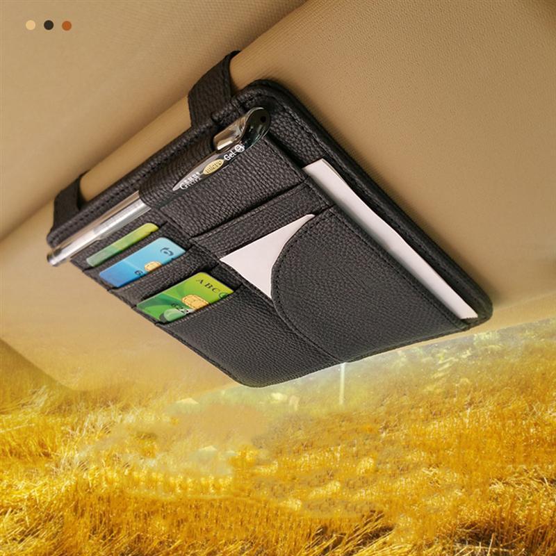 Car Sun Visor CD DVD Card Mesh Organizer Glass Pen Stowing Case Auto Multifunctional Storage Holder Clip Holder Car Styling A30