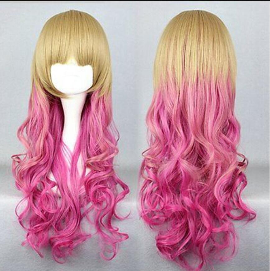 Peluca cosplay rizada larga de Rhapsody Gothic Lolita pelucas ORO fadeTO K Harajuku larga