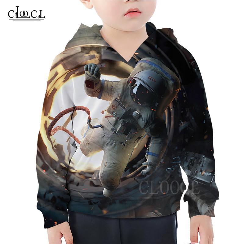Spazio Astronauta modello con cappuccio Bambini Bambini Felpa fredda Outer Space 3D Print Cosmonaut Bambina Bambino Hoodies Streetwear casual