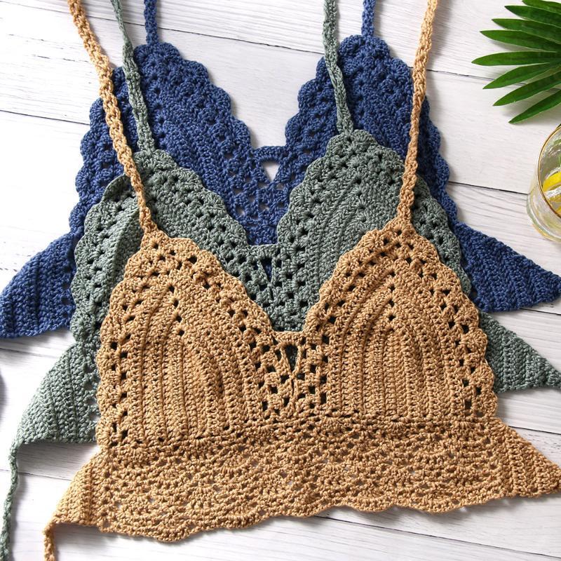Bikini sexy delle nuove Bassiera Donne Crochet di Boho Beach Bikini Camisoles Bralette Halter Cami lavorato a maglia Reggiseno scollato sulla schiena Beachwear Canotta