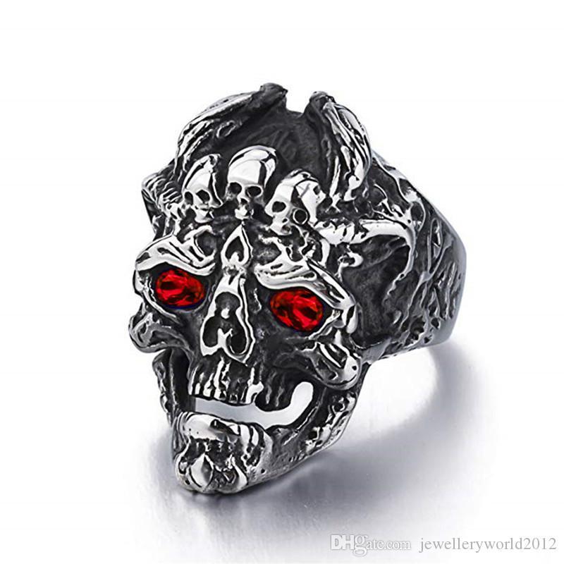 Bague zircon en cristal avec crâne de dragon vintage