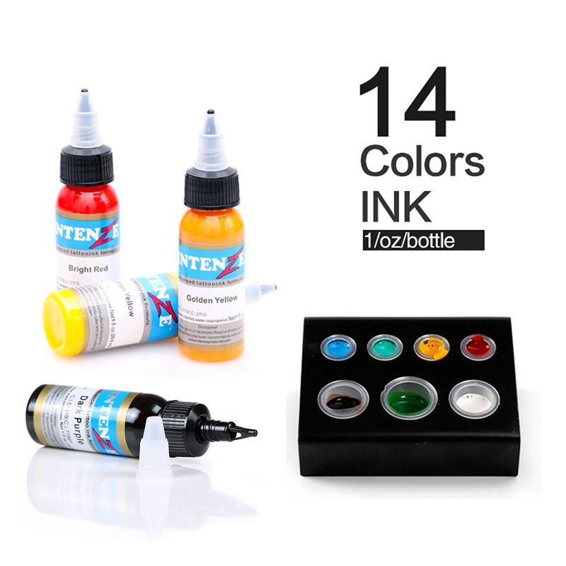 Nuovo permanente 14 colori inchiostro del tatuaggio 1 oncia / Bottiglia strumento di inchiostro del tatuaggio Set