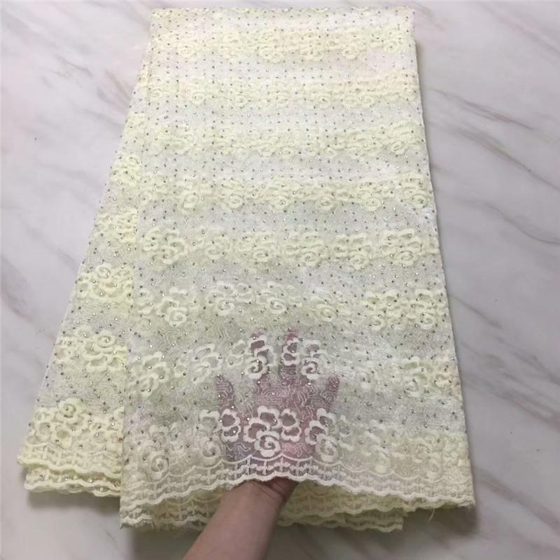 Latest African Lace Fabric Beige High Quality Lace Embroidered stone Green Purple 2019 French Guipure Nigerian Lace Fabrics