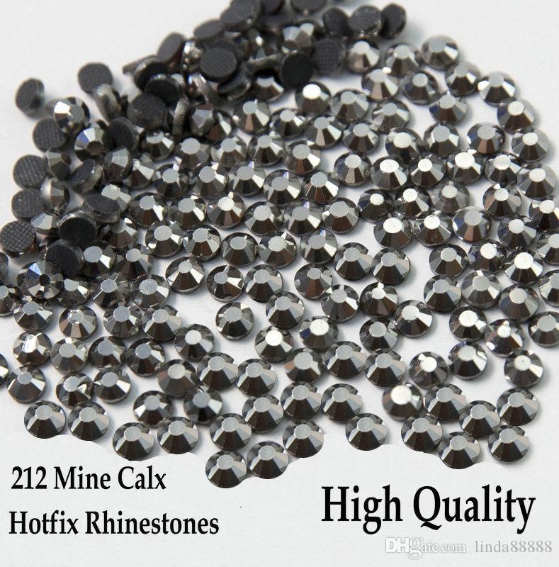 212 Mine Calx / Jet Hämatit Flatback Hotfix Rhinestones SS6-SS30 verschiedene Größen Eisen auf Hotfix-Strasssteinen