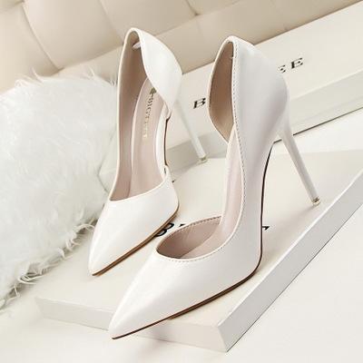 عام 2020 نساء الموضة يضخن كعب عالي حساس 10.5 سم حذاء أنثوي جانبي لامرأة مدببة مضخات السيدات أحذية زرقاء