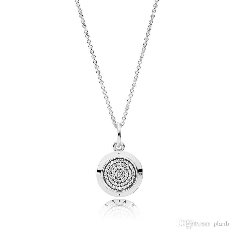 925 Sterling Silver Signature Pendant Necklace Original Box for Pandora CZ Diamond Disc Chain Necklace for Women Men