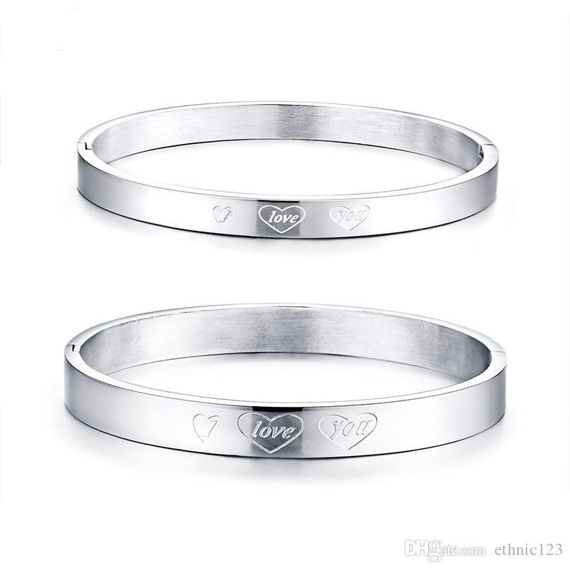 Cor prata Moda Simples Amante do Coração Pulseira de Aço Inoxidável Pulseira Pulseira Jóias Presente para a Menina Meninos J034