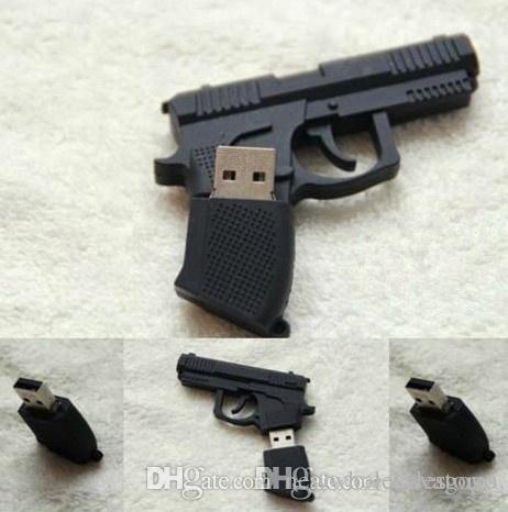 Discout Creative UK0001 권총 만화 USB 플래시 드라이브 기계 총 USB 펜 드라이브 4GB 8GB 16GB 32GB 64GB Pendrive 플라스틱 U 디스크 UK0001 U81