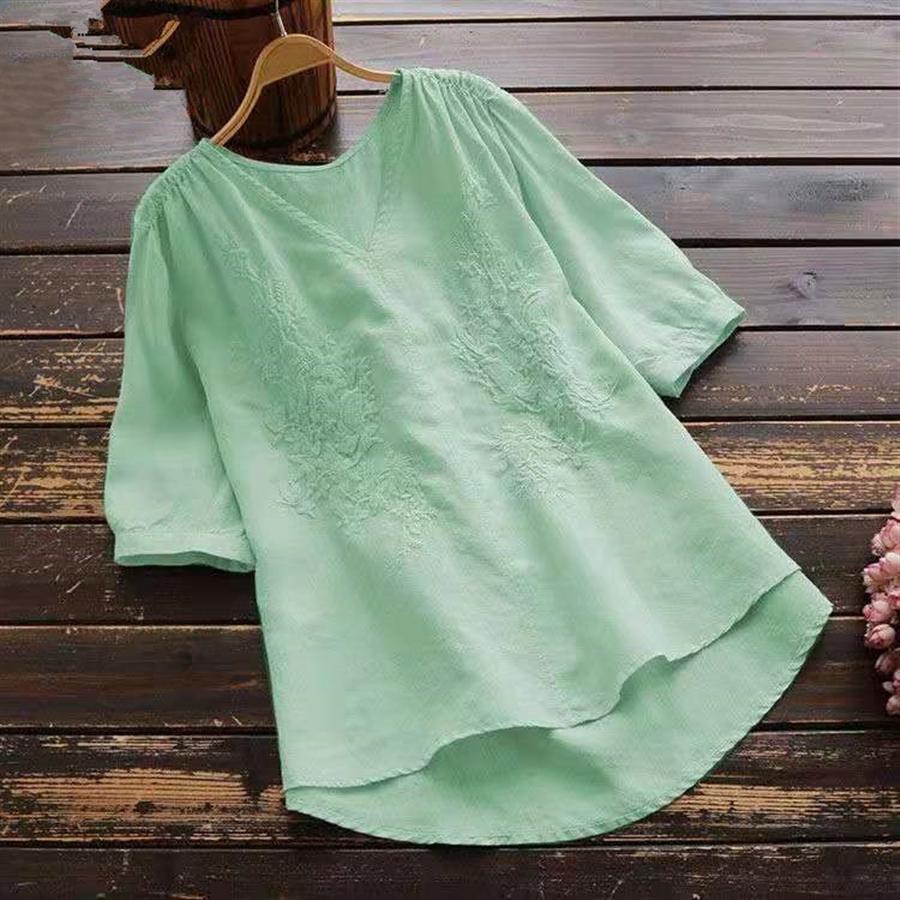 Algodón y lino camiseta de espalda corta camiseta de bordado bordado larga con cuello en V color sólido del todo-fósforo Frente de Mujeres tapa floja ocasional