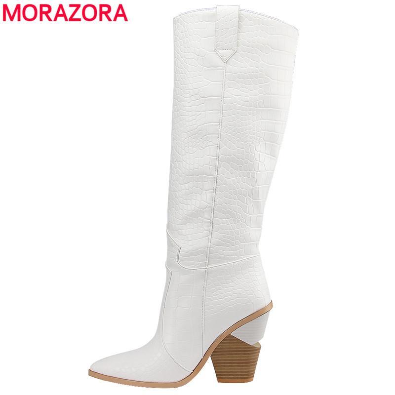 7 renk sivri burun kalın yüksek topuklu diz yüksek çizmeler sonbahar kış ayakkabı seksi bayanlar ayakkabıları kayma 2019 Yeni kadın botları