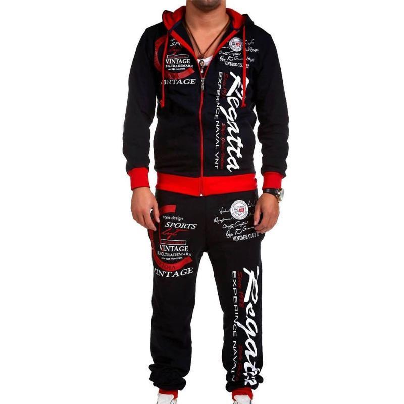 Zogaa Erkekler Track Suit Set Nefes Hoodies Set Erkek Kıyafetler Uzun Uzunluk Marka Baskı Erkekler Ter Suit Erkek Setleri Giysileri 2018