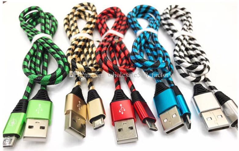 고품질 얼룩말 스타일의 금속 나일론 브레이드 마이크로 USB 케이블 합금 데이터 충전 케이블 1m 2m 3m 삼성 화웨이 HTC 스마트 폰