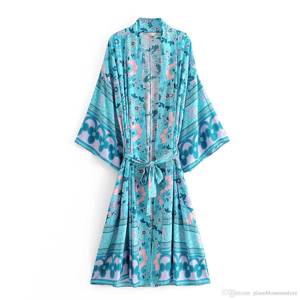 Women Long Robe Kimono Cardigan Blouses Summer Chic Boho Floral Print Fashion Bohemian Sashes Maxi Cardigan Beach Boho Shirt Loose Cover-Ups