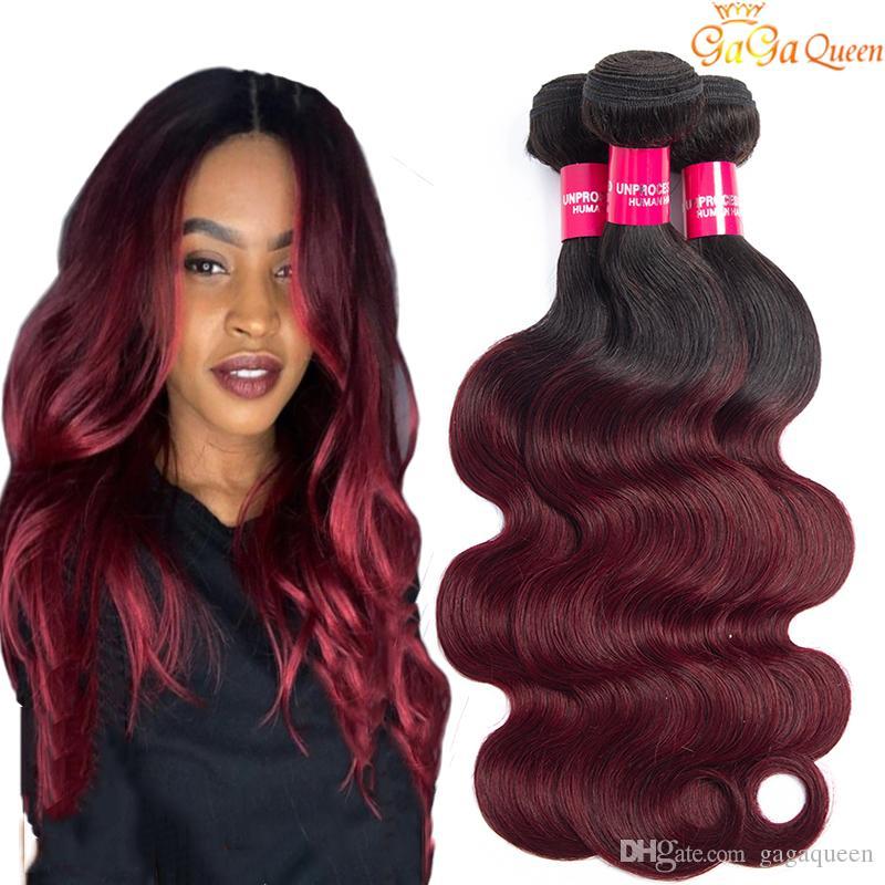 Brésil Ombre cheveux 1B / 99J du corps vague 3 Bundles année 8A non transformés Vin de Bourgogne Rouge Ombre Tissages Extensions de cheveux humains Longueur 10-24 pouces