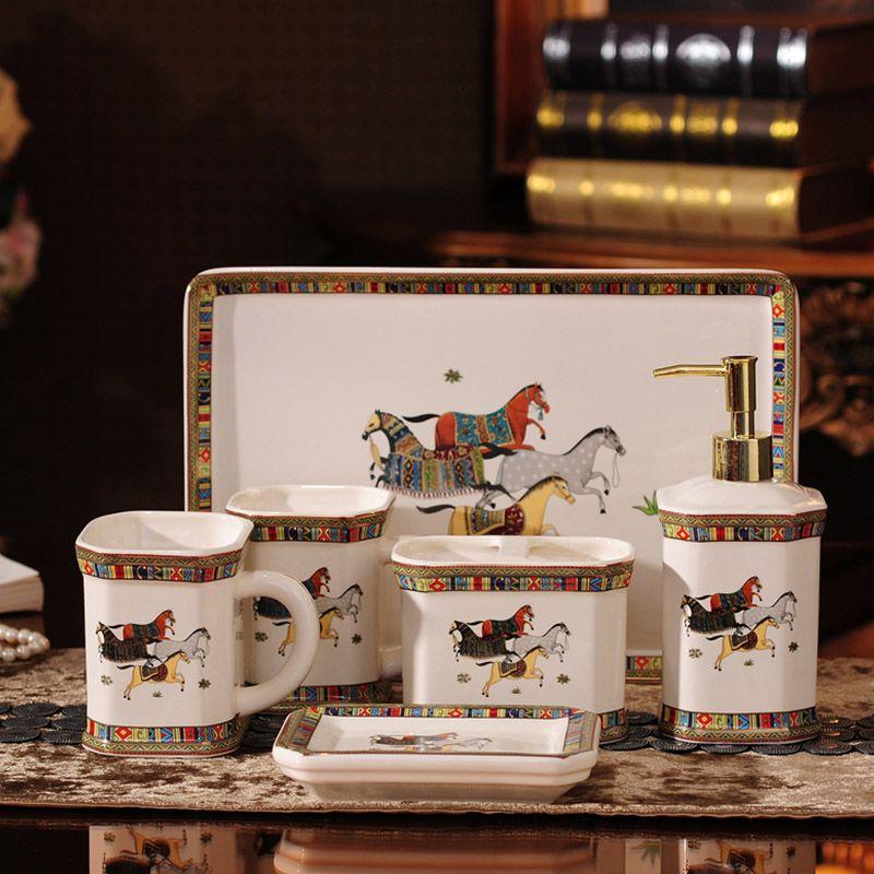 High-End Home Dekoration Hochzeitsgeschenk Porzellan Bad Lieferungen Keramik Badezimmer Set Mouthwash Cup Seife Zahnbürstenhalter
