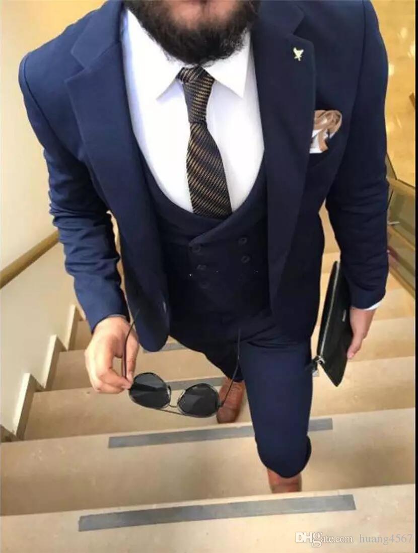새 슬림 맞는 원 버튼 네이비 블루 웨딩 신랑 턱시도 노치 옷깃 Groomsmen 남성 복장 댄스 파티 재킷 (자켓 + 바지 + 조끼 + 넥타이) 195