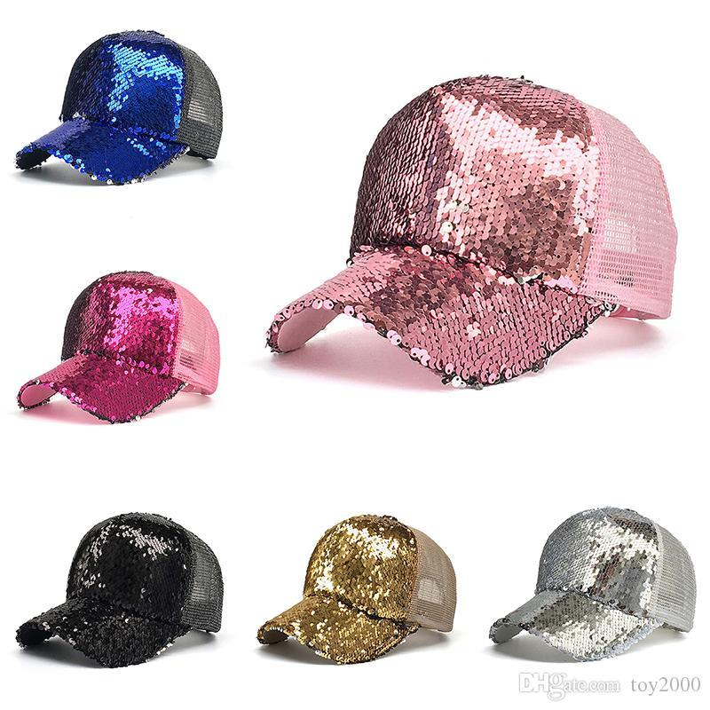 Fashion Mermaid Pailletten-Baseball-Hüte Sommer Gebogene Visier Messy Glitzer-Pferdeschwanz-Hysteresen-Kappen für Männer Frauen trendy Hip Hop Hut