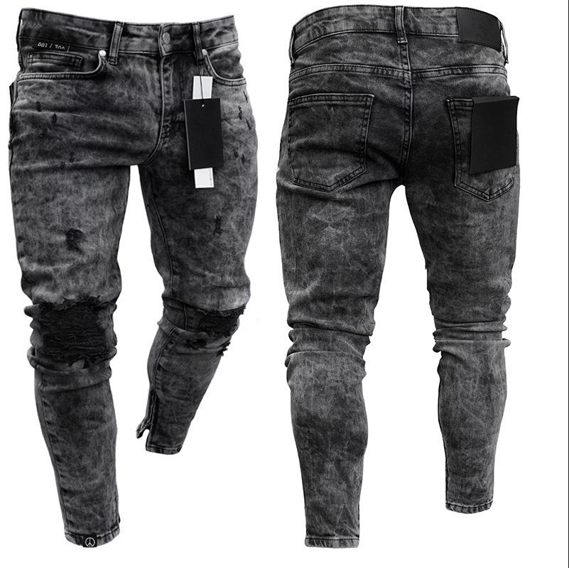 Men Seasons Denim Pants Distressed Freyed Slim Fit Casual Trousers Stretch Ripped Black Jeans Male Denim Pants