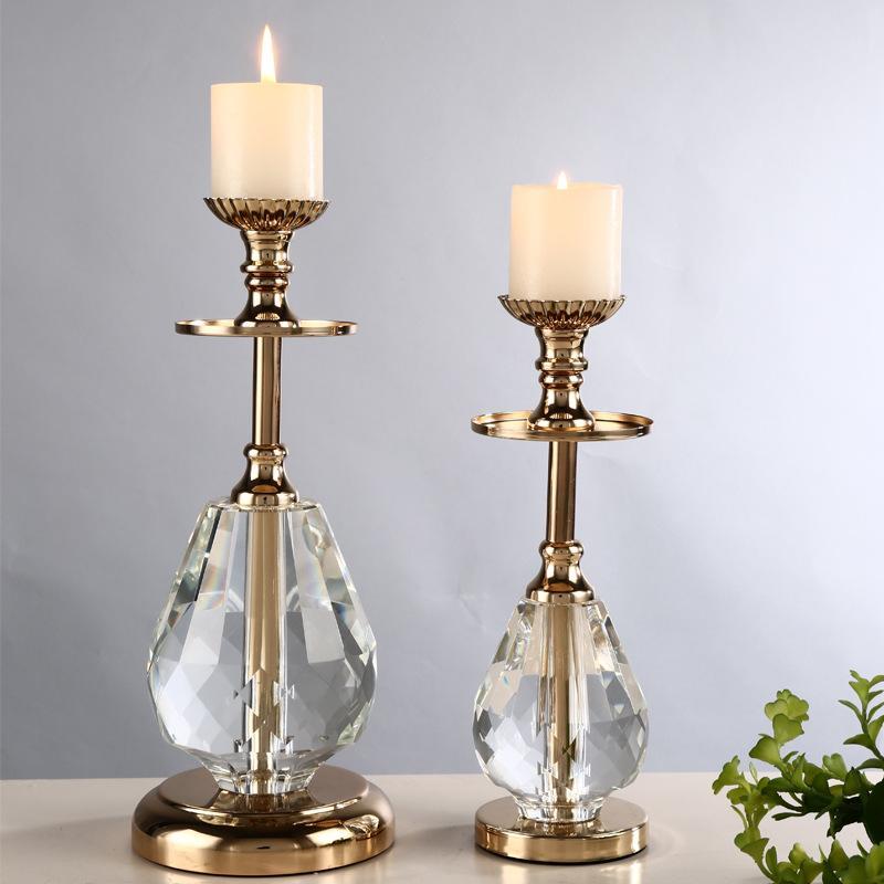 2-pièces accessoires pour la maison en verre de cristal bougeoir en verre moderne plaqué table à manger créative vivre la décoration de meubles de chambre