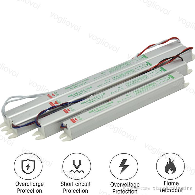 محولات الإضاءة ضئيلة DC12V 18W 24W 36W للماء 110 / 220V محول الصفيحة الألومنيوم ل 3528 5050 الصمام قطاع ضوء وحدات DHL