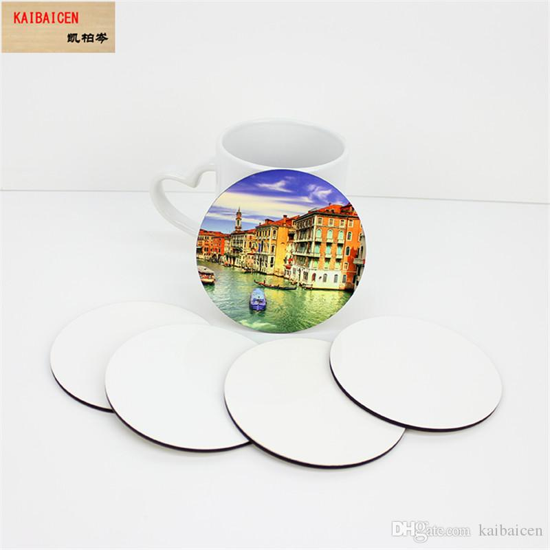 Sublimation Blank Round Coaster MDF Wood DIY Customed Cup Pad Slip Insulation Pad Cup Mat Pad Hot Drink Holder
