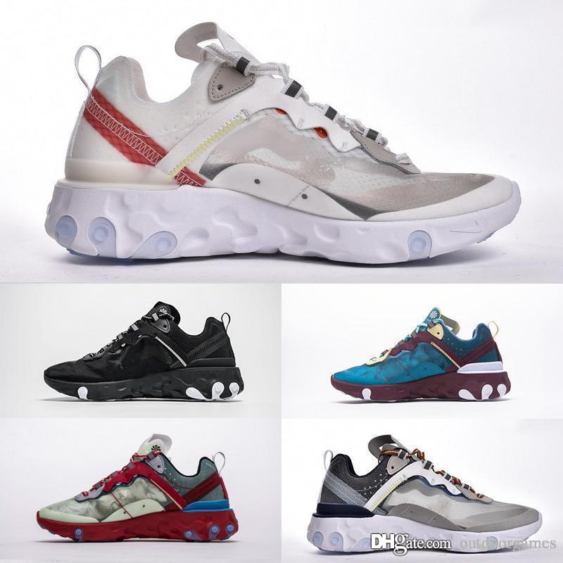 nike React Element 55 87 Avec Box React Element 87 Undercover 3.0 Respirant Maille Fil Femmes Hommes Baskets Chaussures Casual Sport Baskets Zapatos Taille 36-46