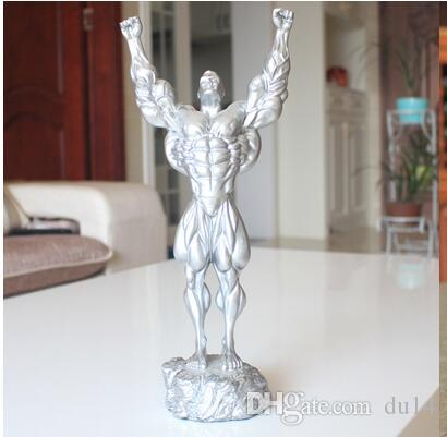 Grey Silver Competition Cup Style: Characters Boxer Bodybuilding resin craft Gardening placed Wedding gift garden statues Home decoration