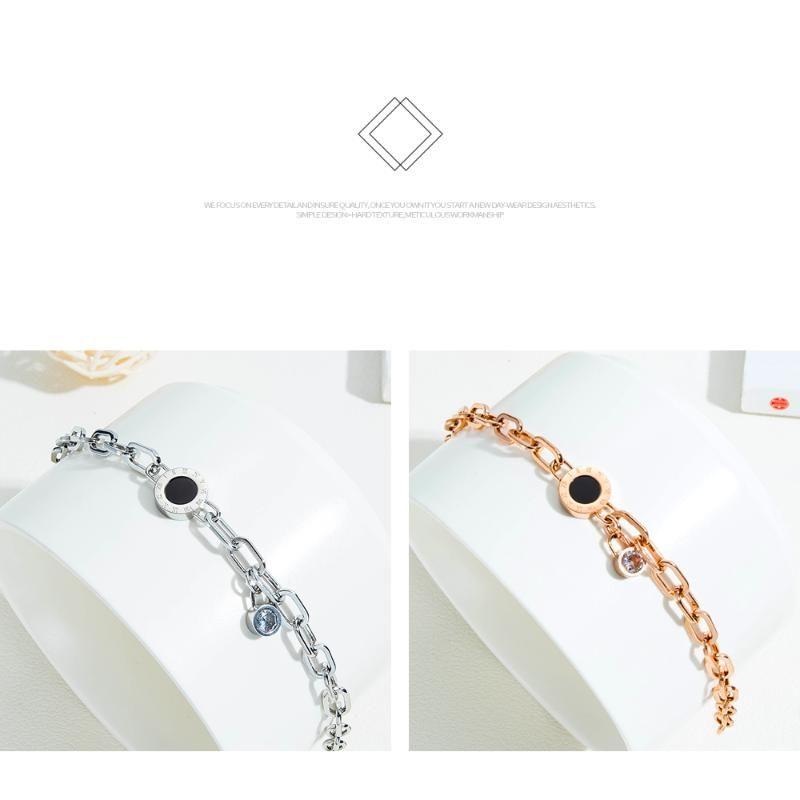 Charm Bracelets EyeYoYo 2021 Roman Numerals Stainless Steel Cubic Zirconia Bracelet Slver Rose Gold Ladies