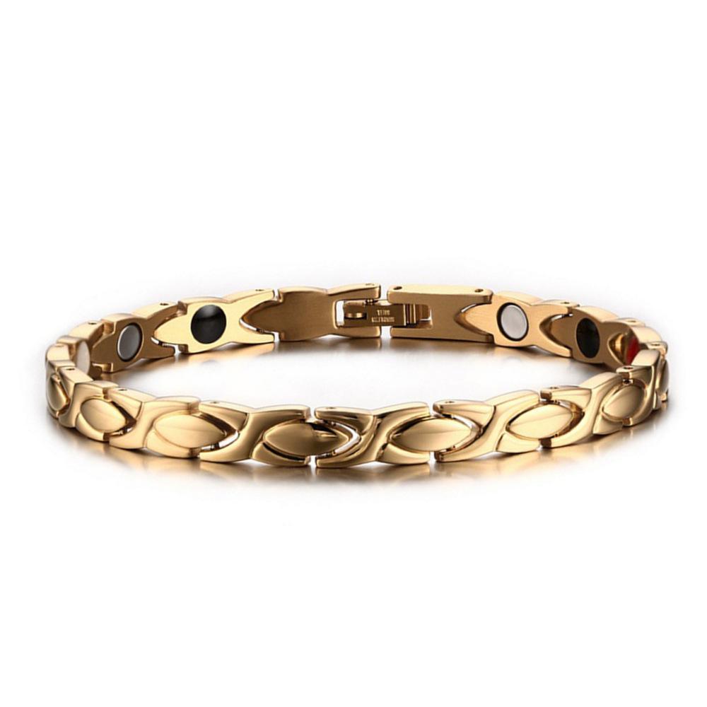 Ordem misturada 4 em aço inoxidável 1 das mulheres pulseiras magnéticas pulseiras de cura energética equilíbrio pulseiras jóias fornecedor fábrica CY075