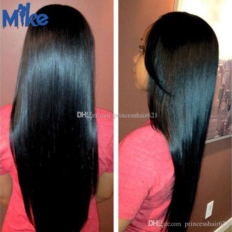 MikeHAIR Indian Remy Hair Weave Unprocessed 100% Human Hair 4 Bundles Peruvian Brazilian Malaysian Straight Hair Extensions for black women