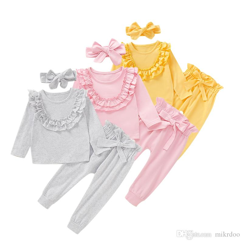 Mikrdoo Kids Baby Girl Cute Solid Color Clothes Set Long Sleeve Ruffle Top + Pant with Headband Bowknot 3PCS Outfit