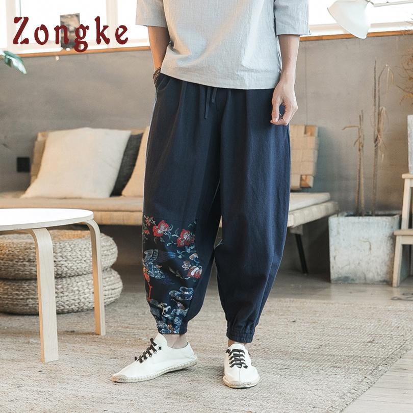 pantaloni larghi del piedino degli uomini larghi di stile nazionale cinese degli uomini Pantaloni pantaloni hip-hop degli uomini di Streetwear giapponesi Pantaloni degli uomini 2019 Primavera