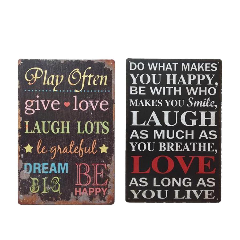 2 Piezas Dar amor de la risa vendimia sortea el metal retro Tin Signs Arte cartel de la pared Placa Decor 12 x 8 pulgadas