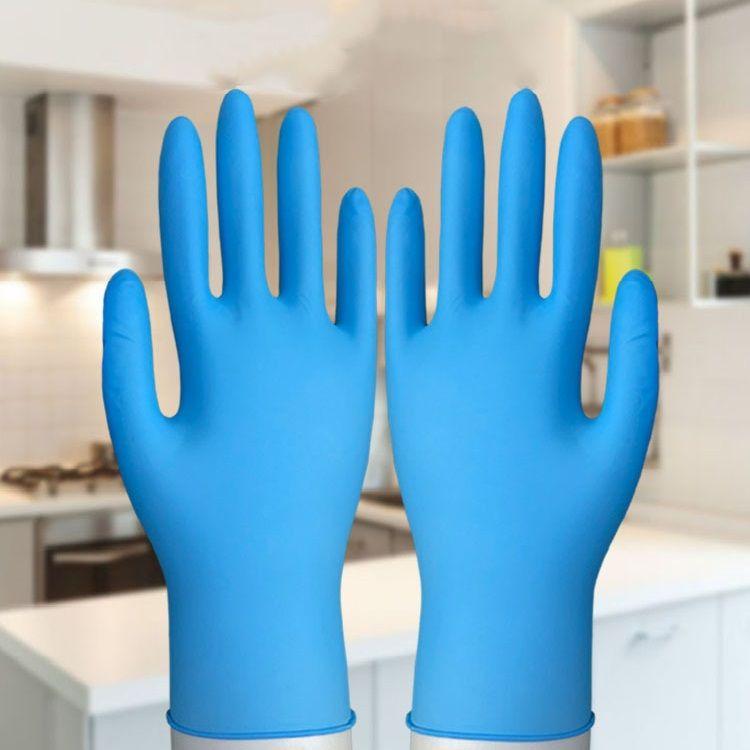 Nuevo hogar elástico desechables guantes azules protección del medio ambiente guantes de trabajo resistentes al desgaste de los hogares Guantes de limpieza T3I5703