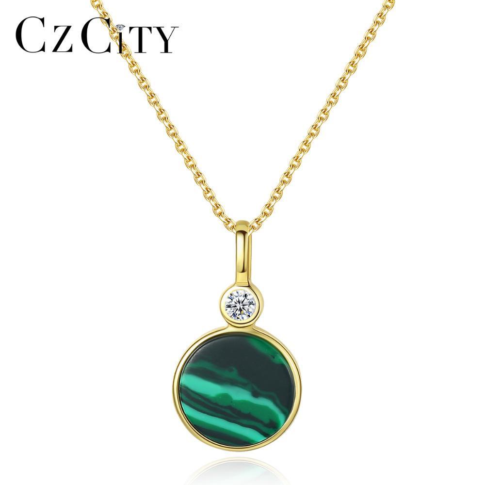 CZCITY New banhado a ouro 18K colar de pingente Malaquita Gemstone prata esterlina 925 Emerald por Mulheres Jóias aniversário elegante