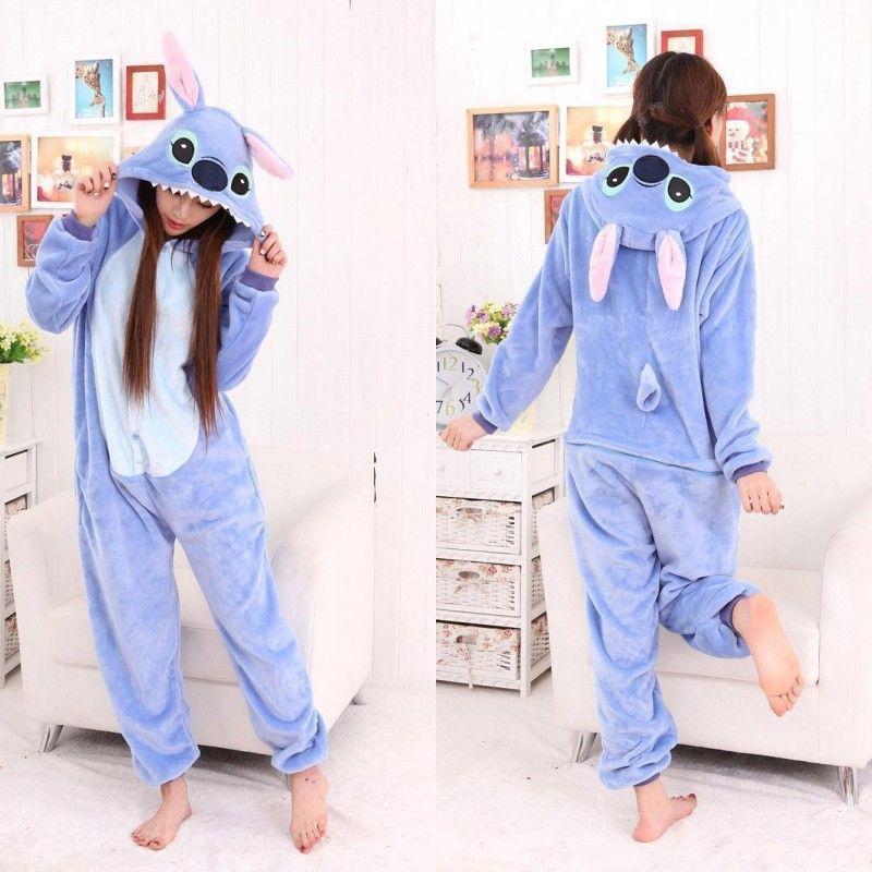 Adult Stitch Pajamas Sets Women Onesie Winter Warm Pyjamas Sleepwear Pijama Onepiece Onesies For Adults Jumpsuits