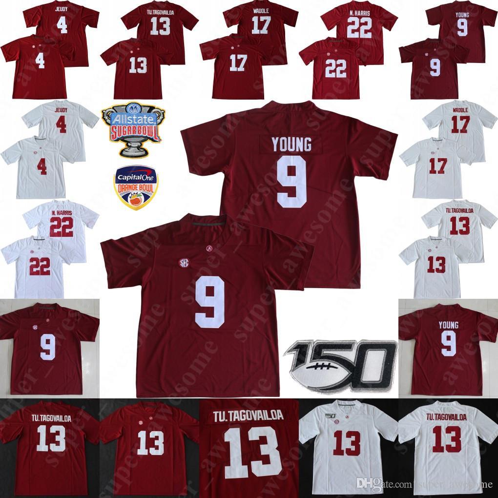 NCAA Alabama Crimson Tide del calcio Jersey 9 Bryce Giovane Tua Tagovailoa Jerry Jeudy Najee Harris Jaylen Waddle maglie Rosso Bianco