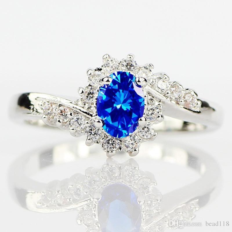 10 adet Gümüş kaplama Doğal Safir Taşlar Opal Birthstone Gelin Prenses Düğün Nişan Garip Yüzük Boyutu 6 7 8 9 10