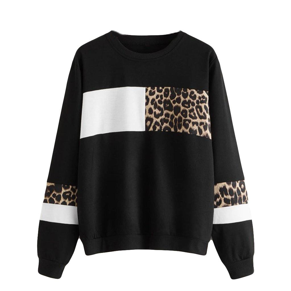 Women Leopard Print O-Neck Jumper Pullover Tops sudadera mujer hot Tops Cotton Long Sleeve Sweatshirt #EW