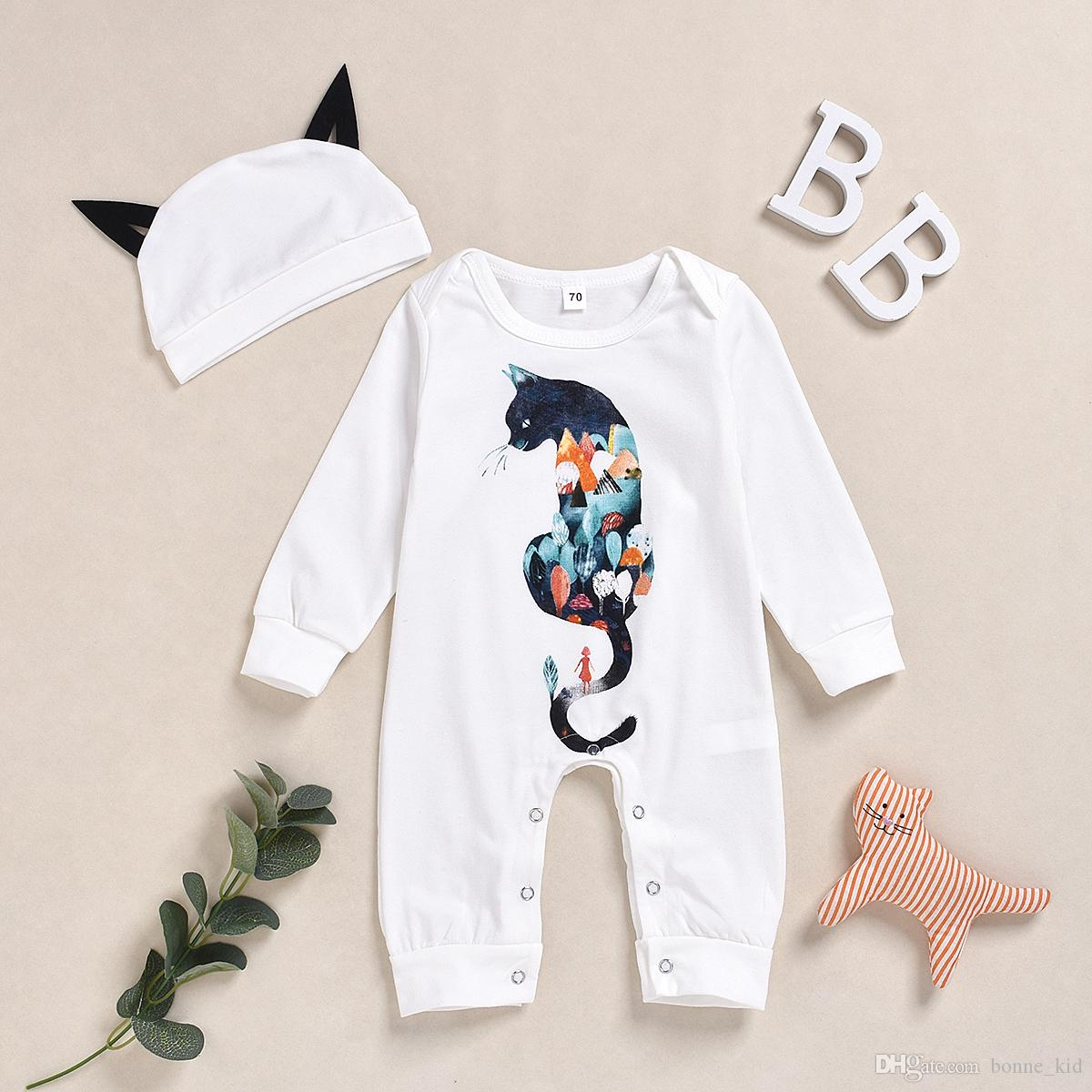 Cat Newborn Baby Boy Girl Romper Jumpsuit Long Sleeve Bodysuit Overalls Outfits Clothes