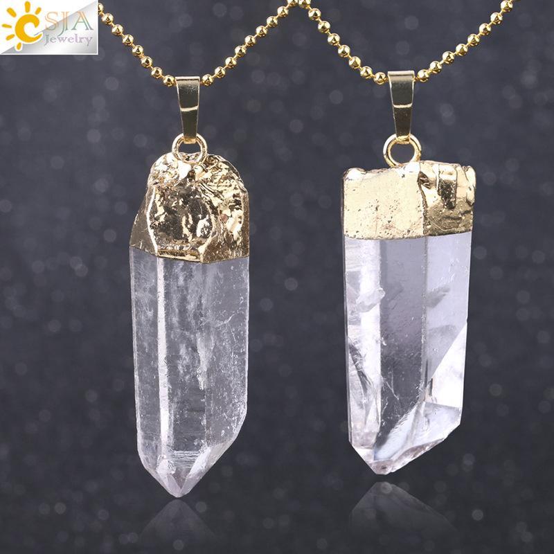 Al por mayor de Pilar cristal blanco natural único irregulares de piedra de la mujer colgante bricolaje collares aptos para la joyería