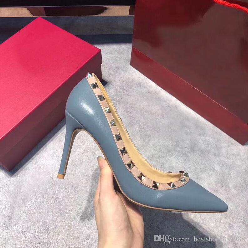 Nuevas mujeres de las bombas de primavera / otoño clava los altos talones del dedo del pie acentuado zapatos de boda femeninas atractivas bombea los zapatos de tacón alto para las mujeres EU34-43