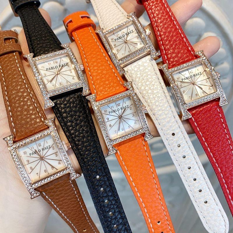 Güzel yeni Ünlü kadınlar moda saati tam Kristal Luxury izlemek kol saati gündelik tasarım dropshipping izle deri kuvars saatler turuncu renk