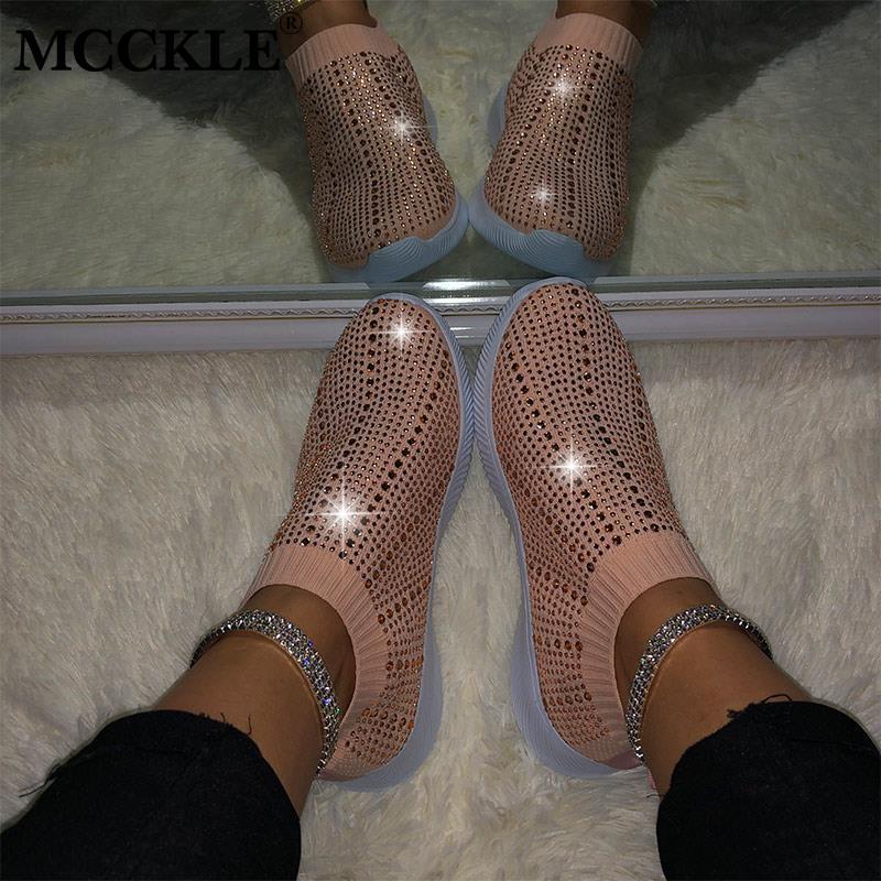 Frühlings-Frauen-Turnschuhe Bling vulkanisierte Schuhe Frau Kristall Damen gestrickte flache Schuhe beiläufige Damen Slip-on-Damenschuhe 2020
