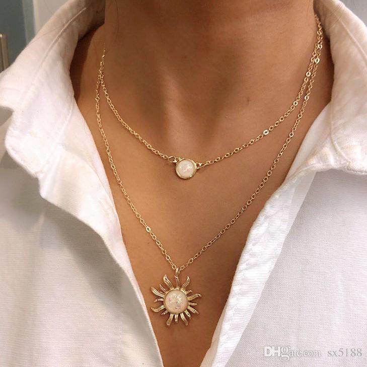 Halskette Design Multi-Layer-Sonnenblumenkette weibliche Art und Weise opal Claviclekette 0719