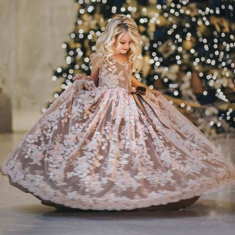 Luxury Flower Girls Dresses 3D Lace Embroidery Appliques Kids Pearls Evening Gowns Tulle Sleeveless Girls Pageant Dress