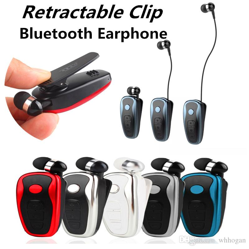 Q7 Stereo Vibration Bluetooth Earphone Clip collar type Wireless earbuds Music Business Headphone Headset For iPhone Samsung with Retail Box